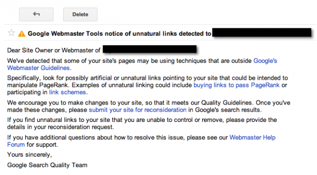 google penalty notice