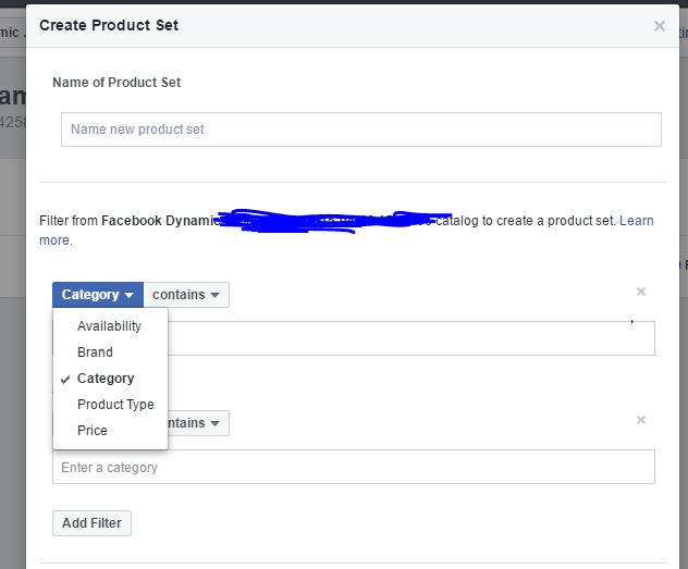 Facebook product set