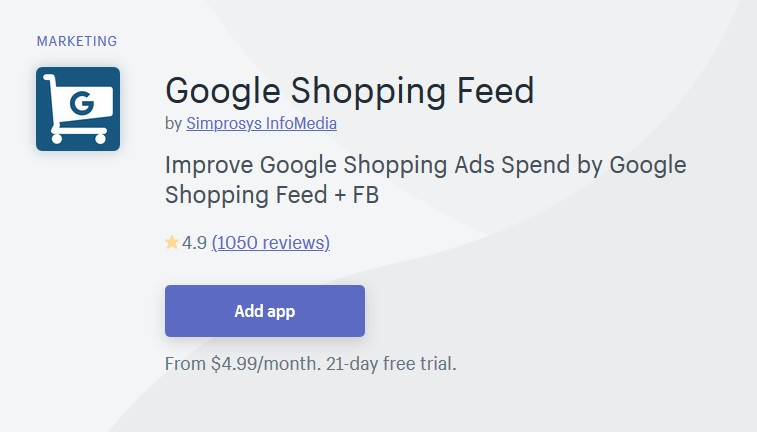 Google shopping feed shopify app