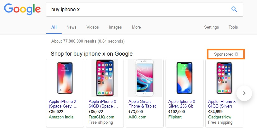 Google shoppings ads iphone x