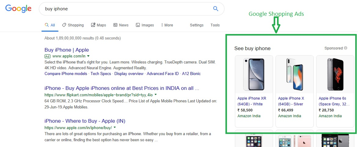 Google shopping ads example