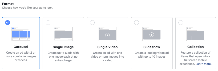 types of ads in facebook advertising