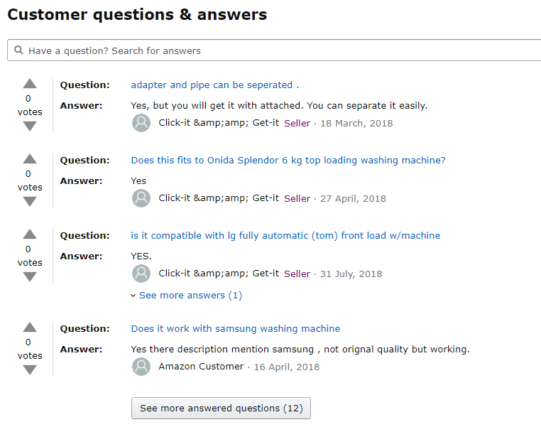 Q&A section of Amazon product
