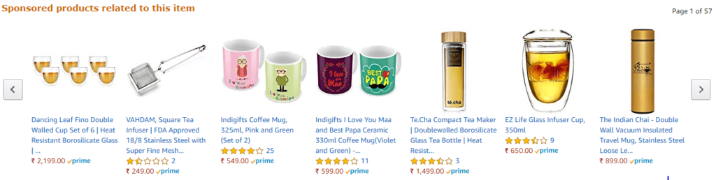 example of teacups on Amazon