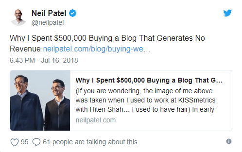 neil patel's tweet