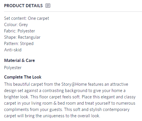 product description on Myntra