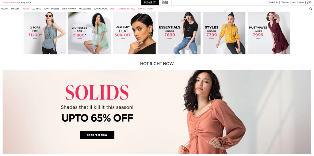 Look and feel of fashionable ecommerce site